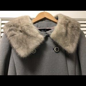1950's Wool/Linen Coat with Fur Collar